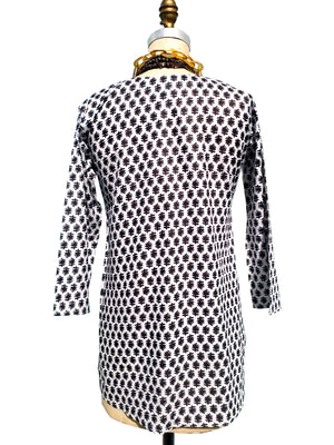 Raja Cotton Tunic White Black Twig
