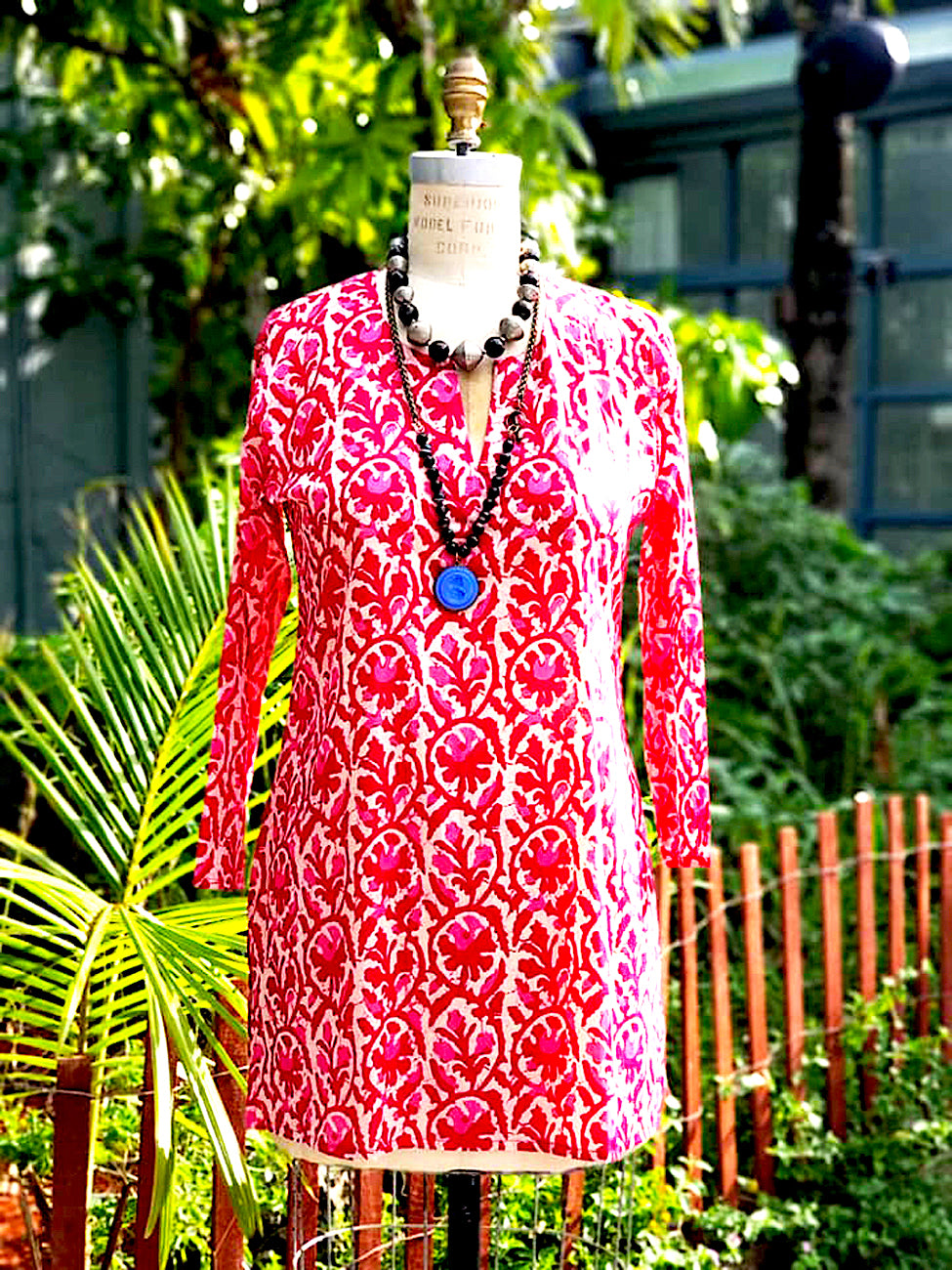 Raja Cotton Tunic Rose Batik