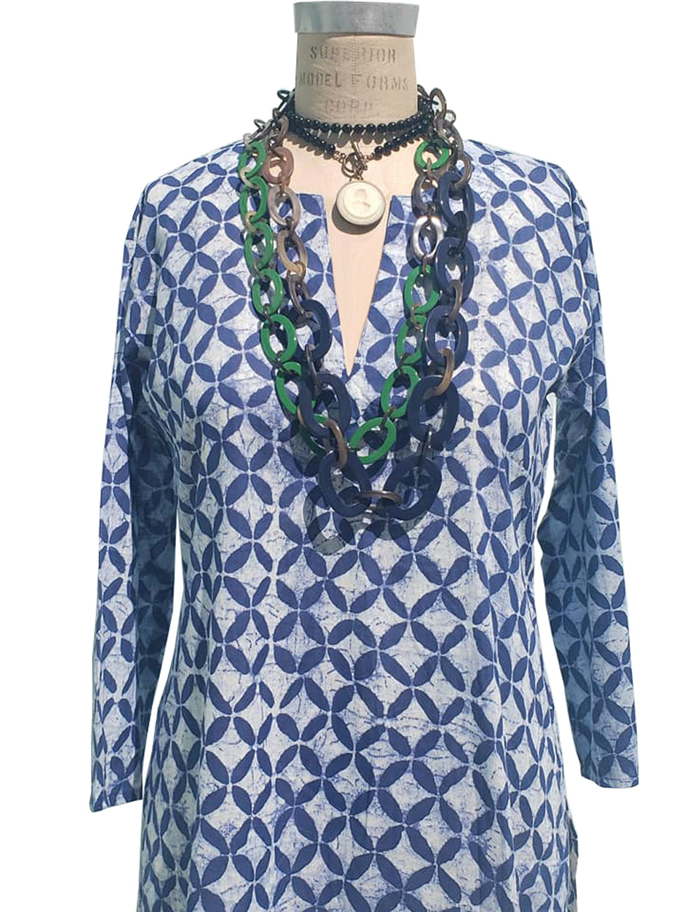 Raja Cotton Tunic Azulejo