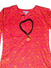 Raja Cotton Tunic Fuchsia Orange Tie Dye