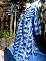 Raja Cotton Long Tunic Blue and White Shibori