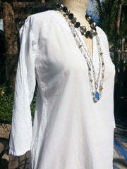 Raja Cotton Long Tunic White