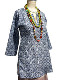 Raja Cotton Tunic Navy Batik Block