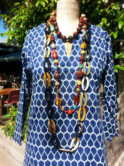 Raja Cotton Tunic Navy Tribal Leaf
