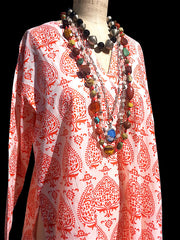 Raja Cotton Tunic Orange Fan