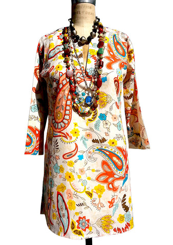 Raja Cotton Tunic Paisley Spice