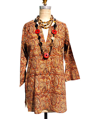 Raja Cotton Tunic Paisley Cinammon
