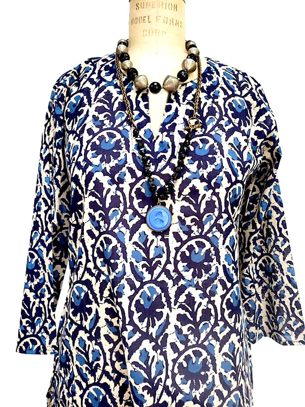 Raja Cotton Tunic Teal Batik