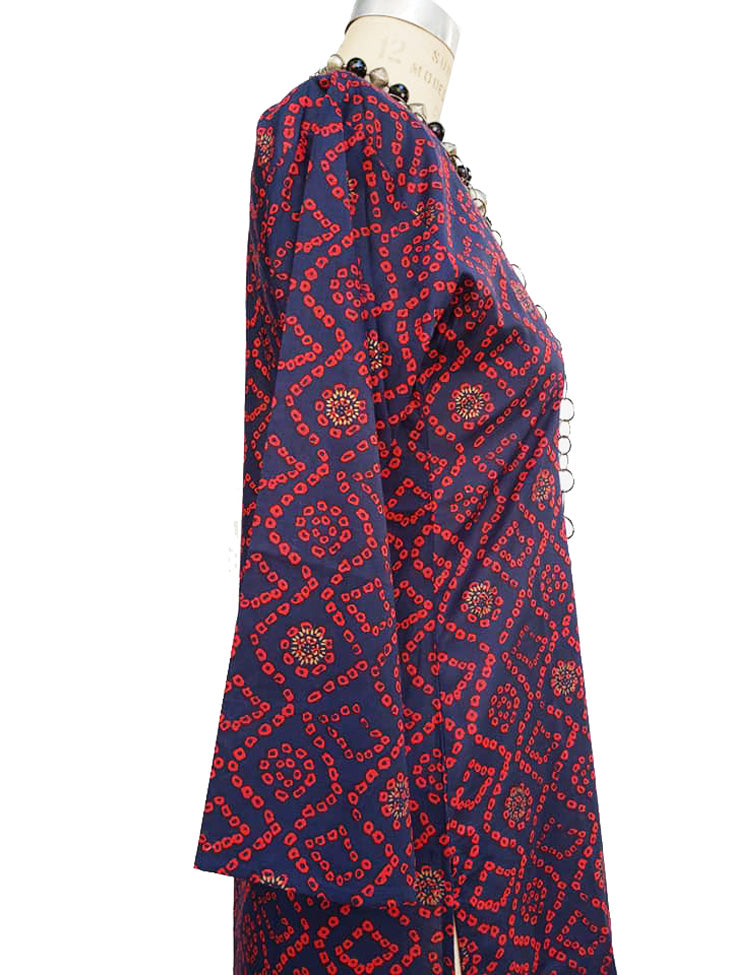 Raja Cotton Tunic Navy Red Tie Dye