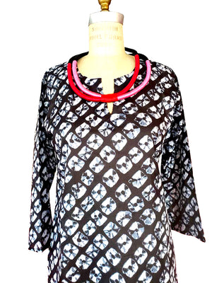 Raja Cotton Tunic Black White Tie Dye