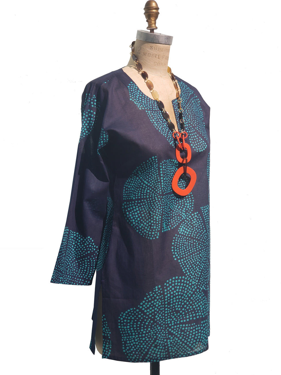 Raja Cotton Tunic Navy Turquoise Polka Dots
