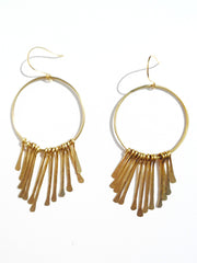 Earrings Hoops With Chimes Gold On Brass