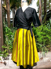 Cocktail Skirt Thai Silk And Rick Rack Ribbons
