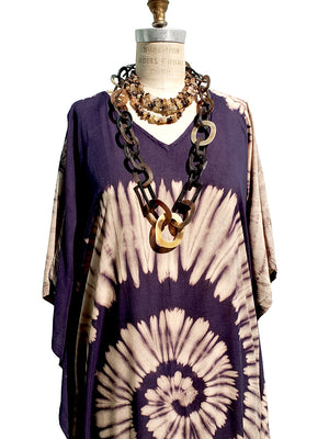 Cotton Long Caftan Dress Shibori