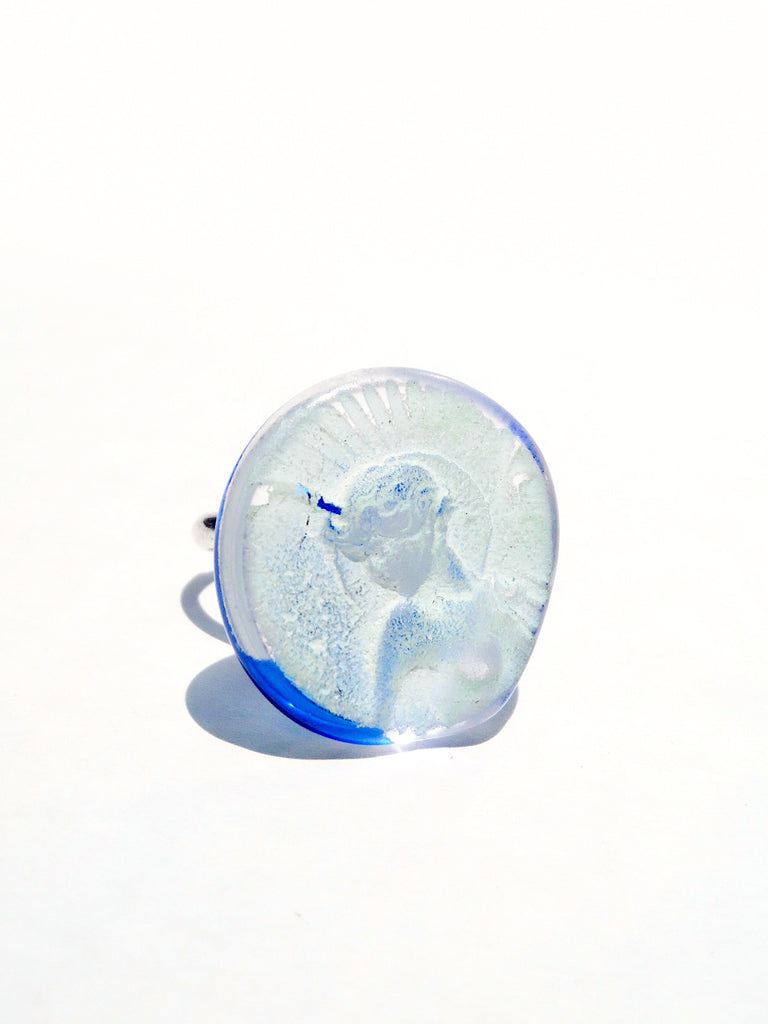 Ring Hand Cast French Glass Angel