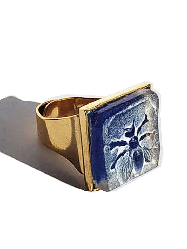 Ring Hand Cast French Glass Blue Bee Square Gold Plated Band
