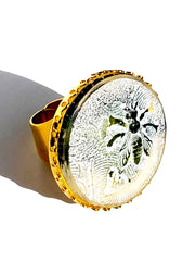 Ring Hand Cast French Glass Bee Round Gold Plated Band