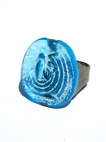 Ring Hand Cast French Glass Bee Turquoise