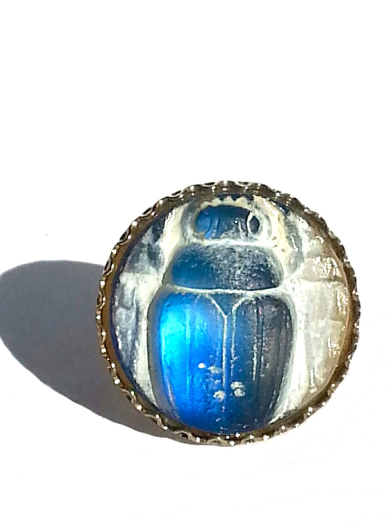 Ring Hand Cast French Glass Beetle Blue
