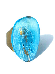 Ring Hand Cast French Glass Tropical Bird Turquoise