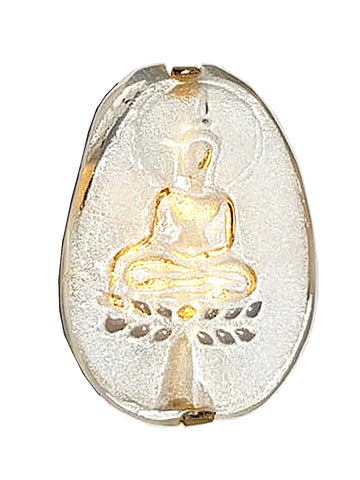 Ring Hand Cast French Glass Buddha Oval Gold Plated Band