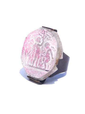 Ring Hand Cast French Glass Cherubs Pink