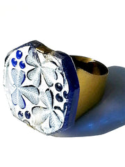 Ring Hand Cast French Glass Clover Blue
