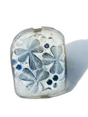 Ring Hand Cast French Glass Clover White