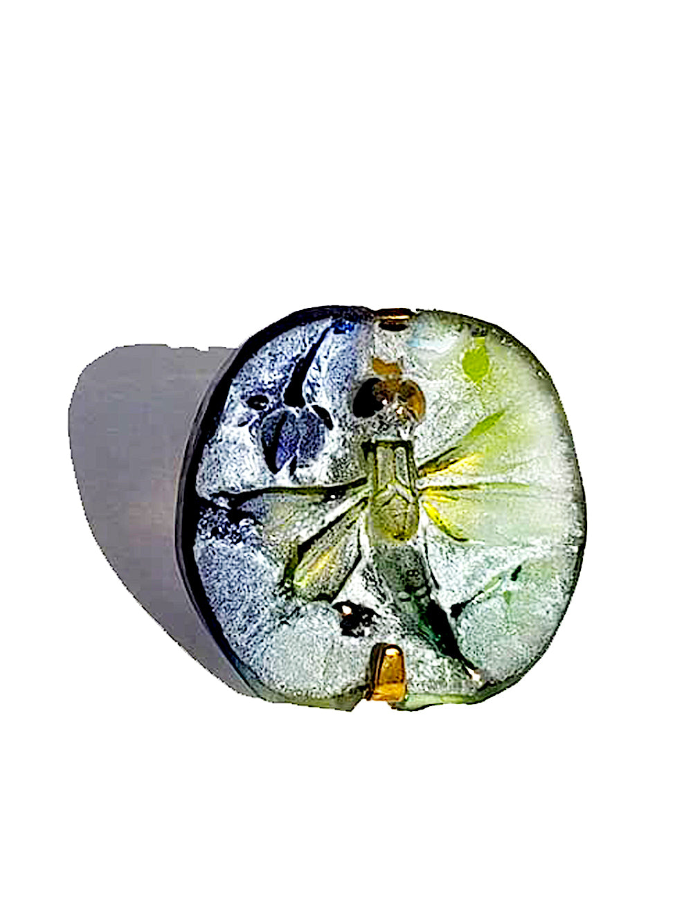 Ring Hand Cast French Glass Dragonfly Square Gold Plated Band