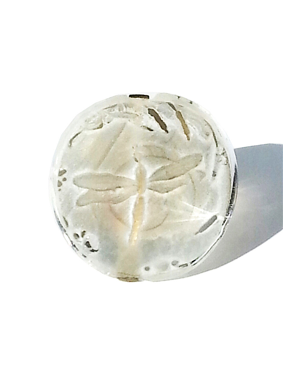 Ring Hand Cast French Glass Dragonfly Round