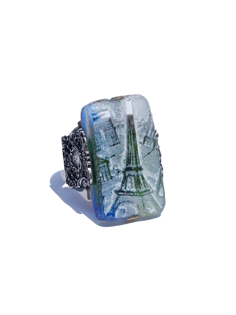 Ring Hand Cast French Glass Eiffel Tower Blue Green