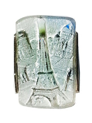 Ring Hand Cast French Glass Eiffel Tower Blue Green 2