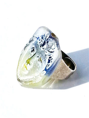 Ring Hand Cast French Glass Heart Face Blue Yellow