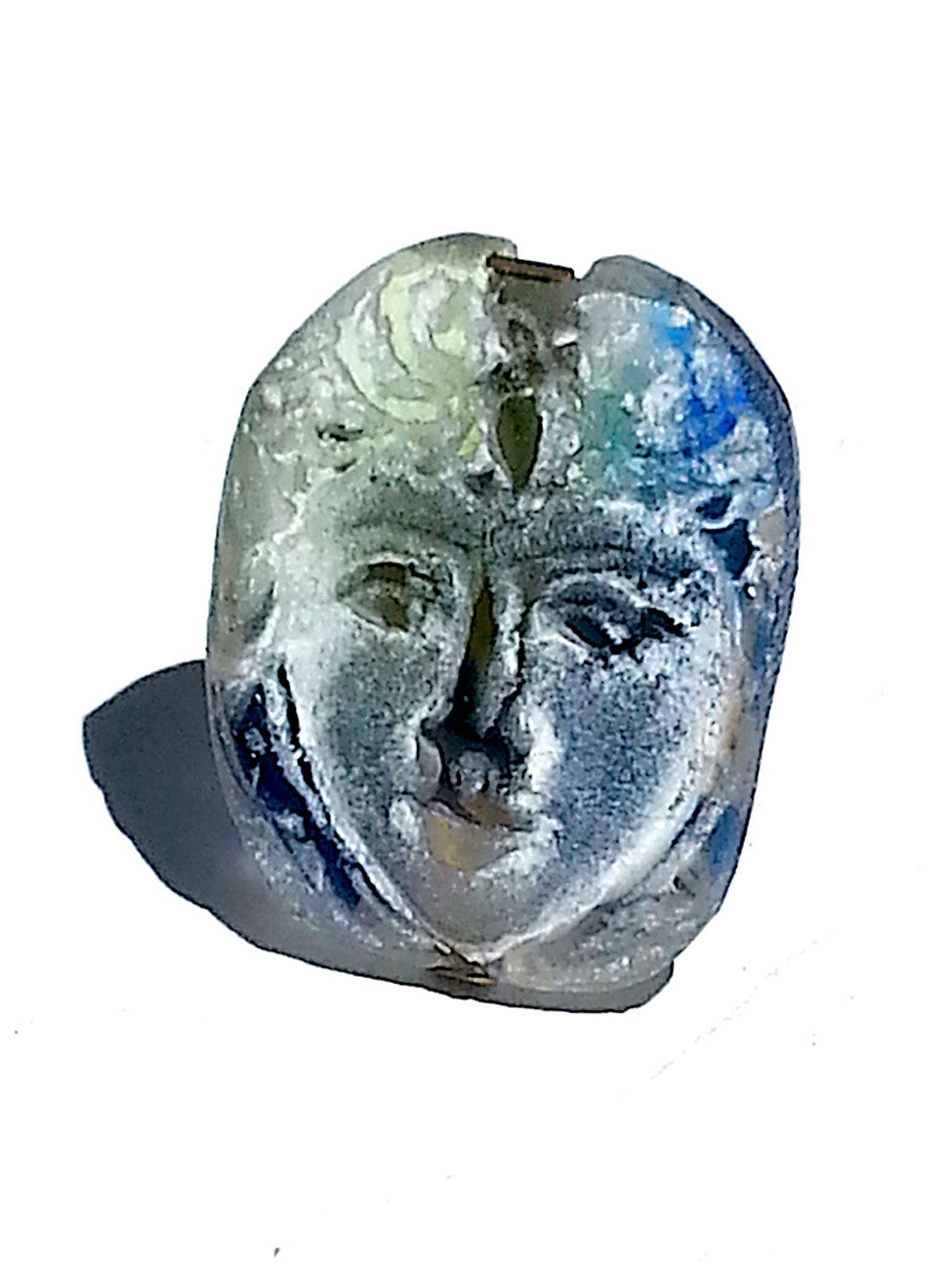 Ring Hand Cast French Glass Heart Face Blue Green