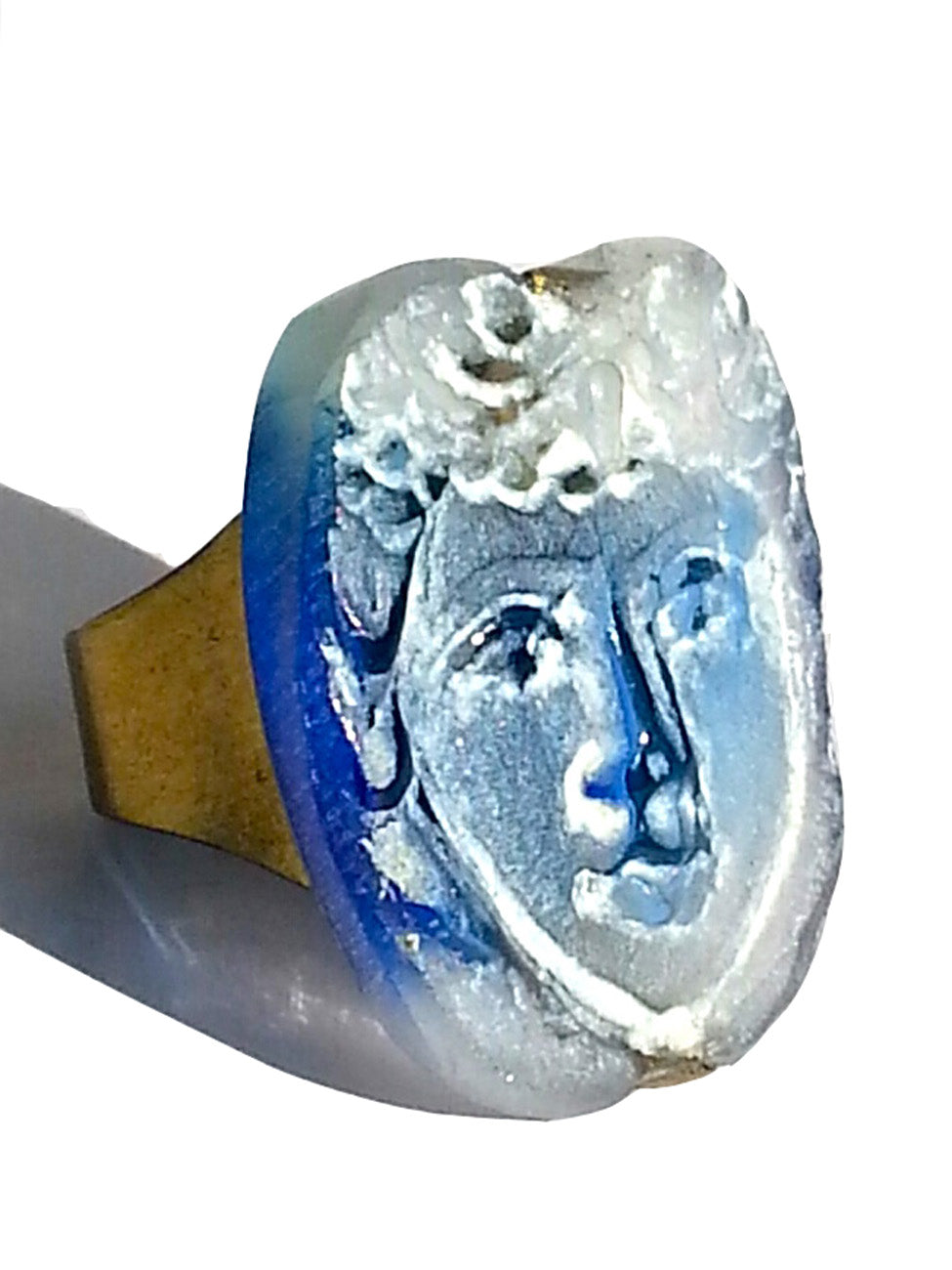 Ring Hand Cast French Glass Face Blue White