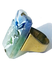 Ring Hand Cast French Glass Fairy Blue Green