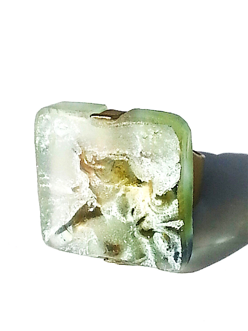 Ring Hand Cast French Glass Fairy Celadon