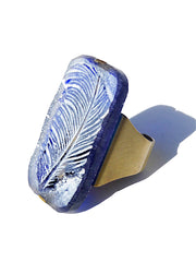 Ring Hand Cast French Glass Feather Blue