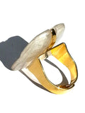 Ring Hand Cast French Glass White Feather Gold Plated Band