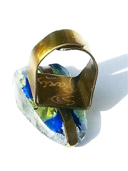 Ring Hand Cast French Glass Floral Blue Yellow