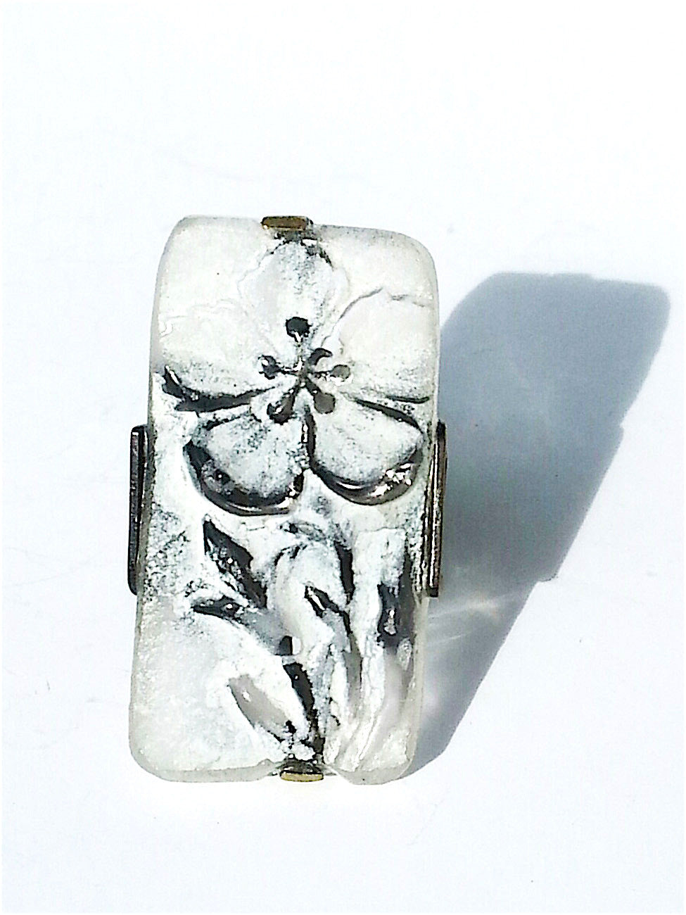 Ring Hand Cast French Glass Flower White