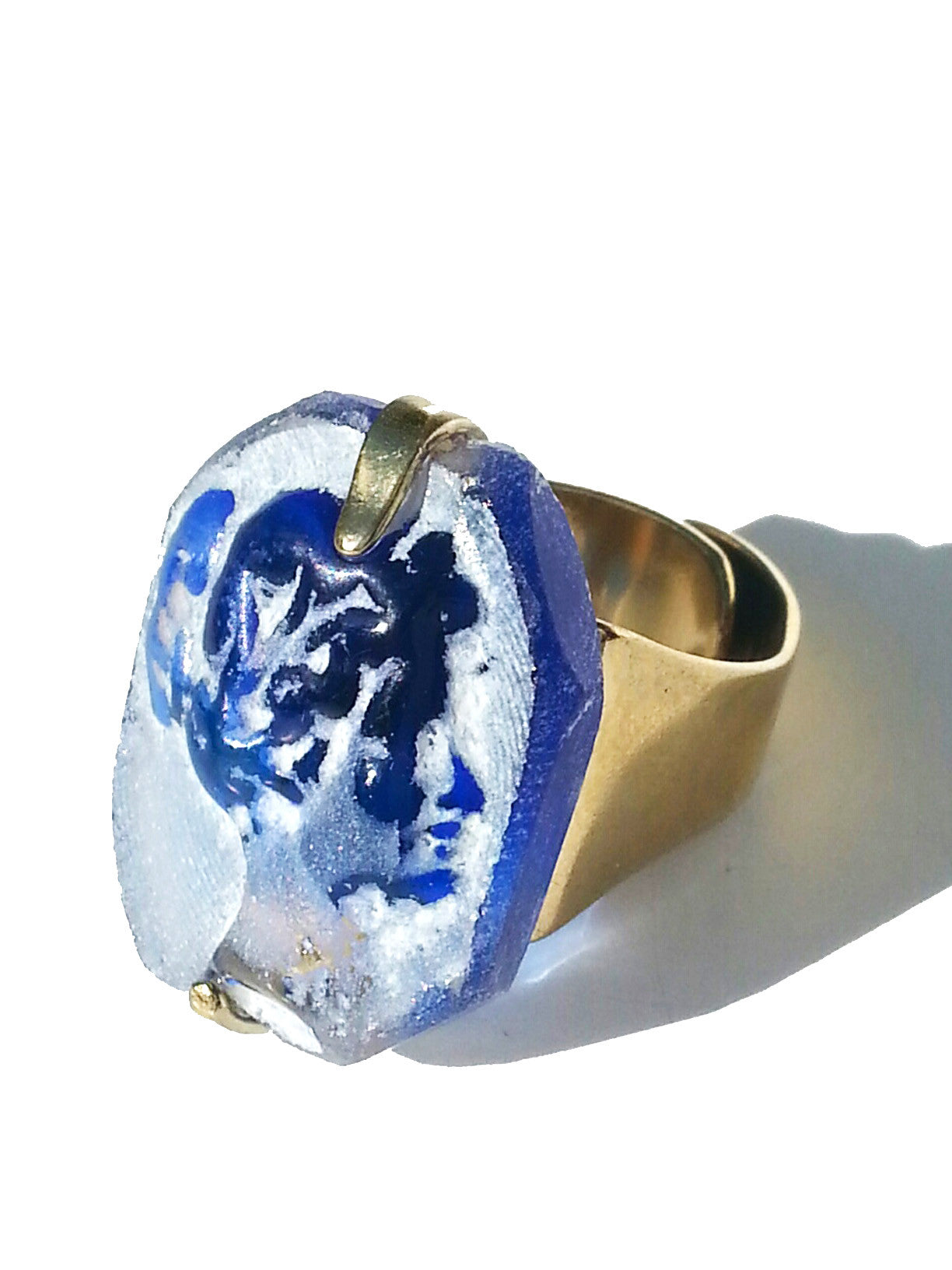 Ring Hand Cast French Glass Gold Plated Band