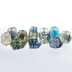 Ring Hand Cast French Glass Fairy Blue