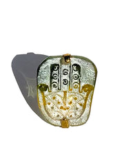 Ring Hand Cast French Glass Hamsa Green and Yellow Gold Plated Band