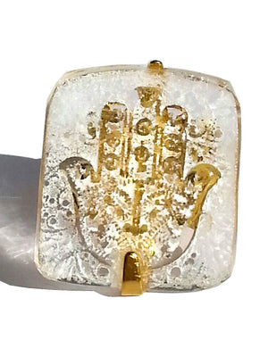 Ring Hand Cast French Glass Hamsa White Gold Plated Band