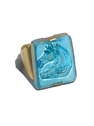 Ring Hand Cast French Glass Horse Aquamarine Gold