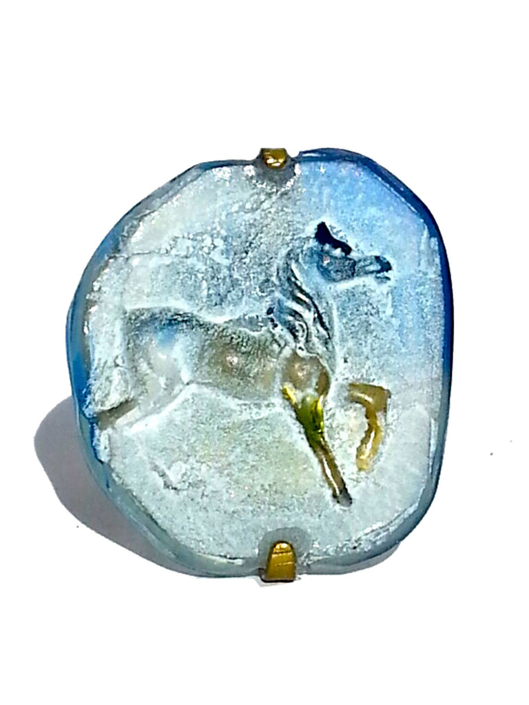 Ring Hand Cast French Glass Horse Blue and White