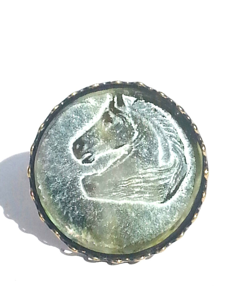 Ring Hand Cast French Glass Horse Green