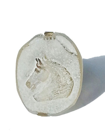Ring Hand Cast French Glass Horse Oval White
