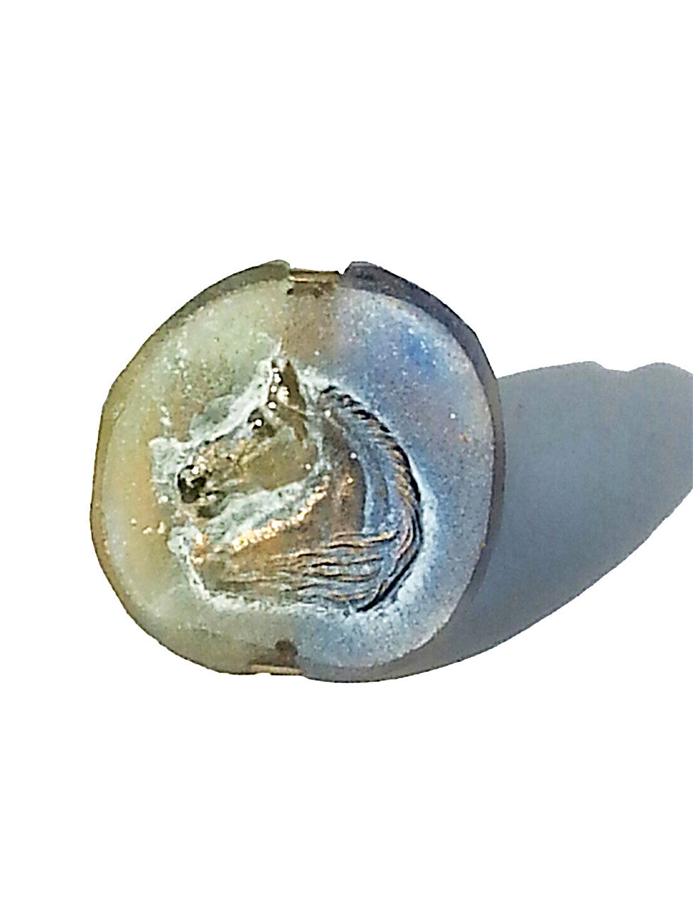 Ring Hand Cast French Glass Horse Round Blue Green